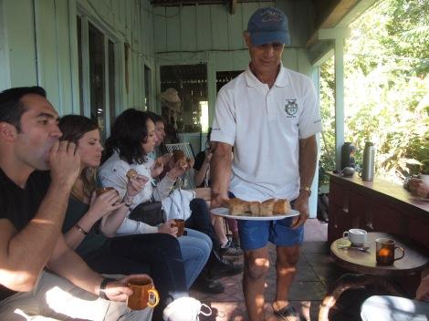 Juan serving us fresh coffee at his 'hacienda'