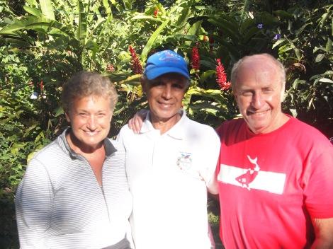 Surrounded by flowering plants around Juan's 'hacienda'