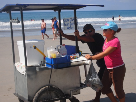 Snow cone vendor on the beach