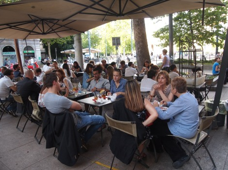 Apertivo at Piazza Sempione on a warm, early summer evening