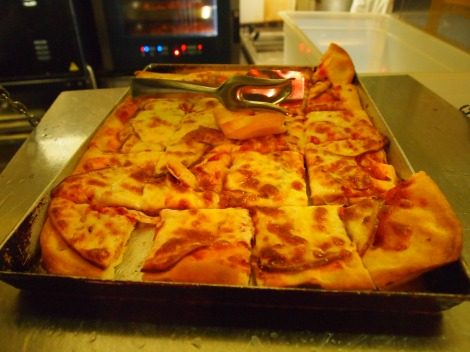 Fresh from the pizza oven