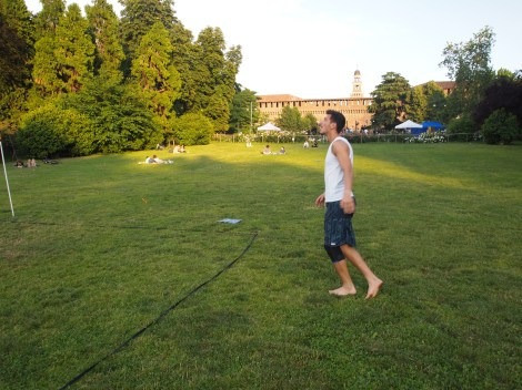Playing soccer with a volleyball net