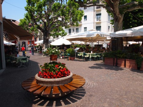 A dozen or so restaurants around the piazza