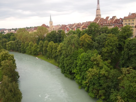 Crossing the Kornhausbrucke over the Aare River