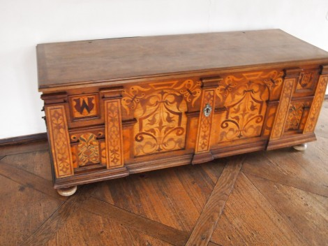 Hand-crafted wooden trunk in banquet hall