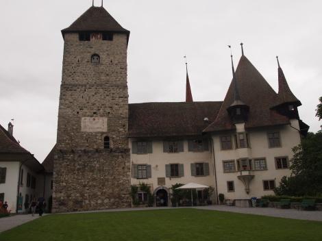 Schloss Spiez courtyard; notice windows in tower
