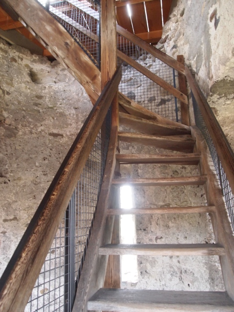 Wooden stairs leading to ramparts