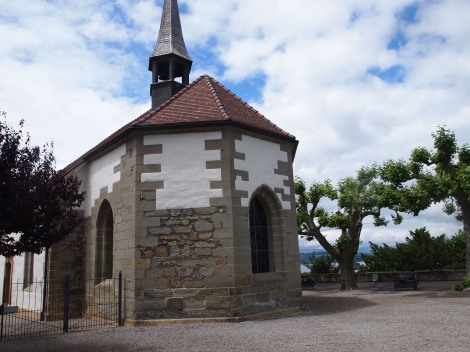 French catholic church on bluff overlooking Murtensee