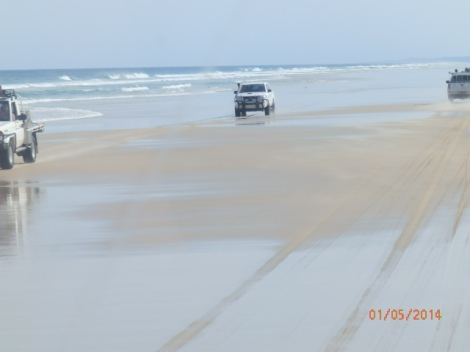 Beach highway on Fraser Island east coast