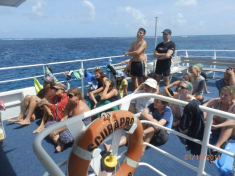 Dive briefing on top deck.  Students are now PADI certified.