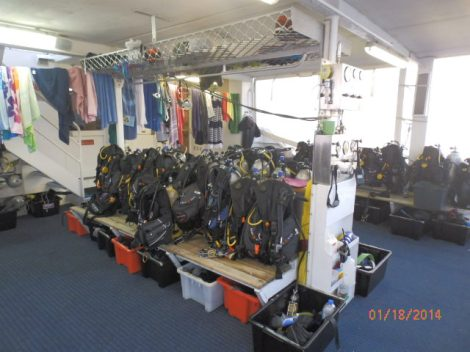 Diving gear ready for our first dive; BCD, tanks, stinger suits, mask and snorkel.