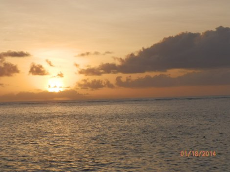 Sunset a half hour before first night dive; weather was clearing