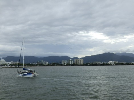 Dark clouds over Cairns as we pull into the dock
