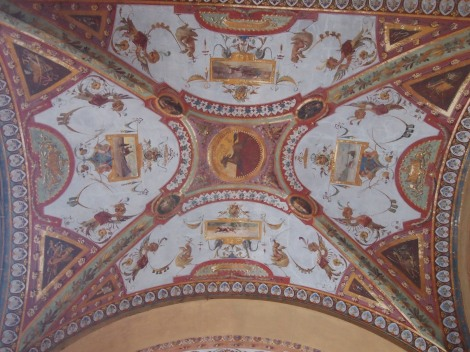 Portico ceiling on Piazza Cavour