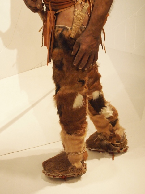 Otzi's leggings, shoes, and sheathed flint knife