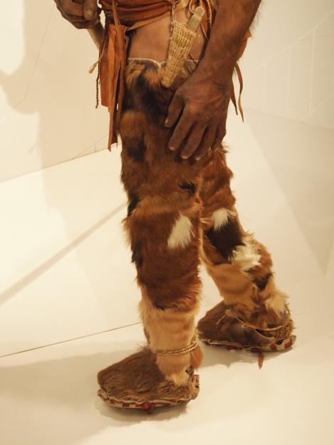 Otzi's leggings, shoes, and sheathed flint knife