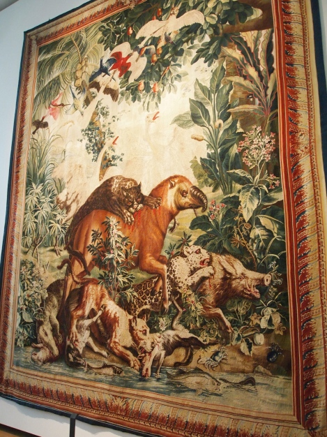 French tapestry of South American jungle animals
